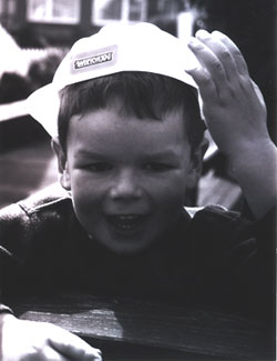 Matthew wearing a hard hat